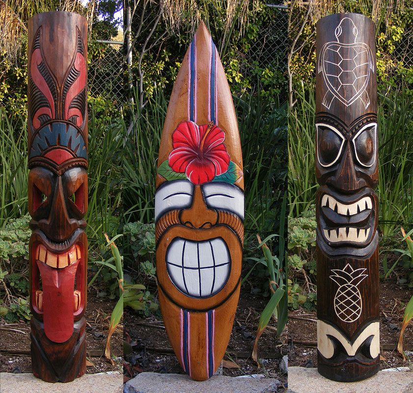 Hawaiian tiki package deal wood wall mask patio tropical for Tiki decorations home